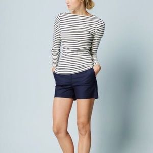 Boden Navy Striped Boatneck Tee